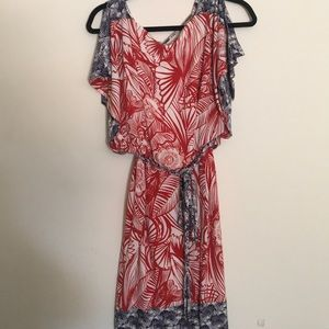 Red, white, and blue Floral print dress